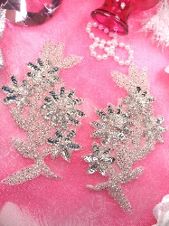 """0297 Silver Floral Mirror Pair Sequin Beaded Appliques 6"""""""