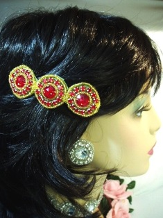 HB0379  Red Jewel Gold Beaded Rhinestone Hair Bow 3.75""