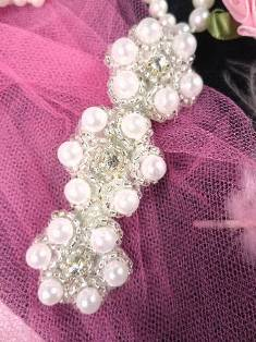 HB0428B  Pearl Rhinestone Beaded Hair Bow