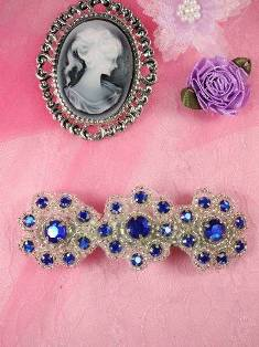 HB0474 Blue Silver Beaded Jewel Floral Hair Bow 3.75""