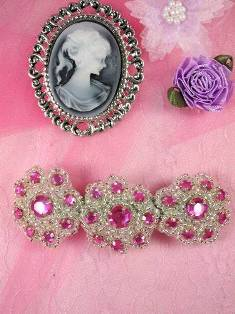 HB0474 Fuchsia Silver Beaded Jewel Floral Hair Bow 3.75""