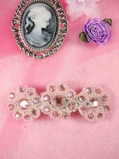 HB0474 Pink Beaded Jewel Floral Hair Bow 3.75""