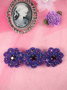 HB0474 Purple AB Beaded Jewel Floral Hair Bow 3.75""