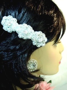 HB0478  Crystal Silver Beaded Flower Rhinestone Hair Bow 3.75""