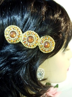 HB0379  Bronze Jewel Gold Beaded Rhinestone Hair Bow 3.75""