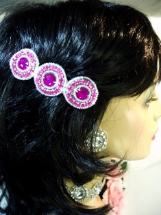 HB0379  Fuchsia Jewel Silver Beaded Rhinestone Hair Bow 3.75""