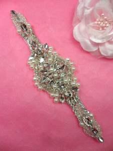 """HC10 Applique Silver Beaded Crystal Rhinestone w/ Pearls Bridal Motif  6.5"""""""