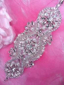 """HC12 Applique Bridal Motif Silver Beaded Crystal Rhinestone w/ Pearls 7.25"""""""