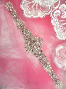 """HC16 Applique Bridal Sash Motif Crystal Rhinestone w/ Pearls 11"""""""