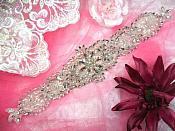 """HC19 Applique Bridal Sash Motif Crystal Rhinestone w/ Pearls 13"""""""