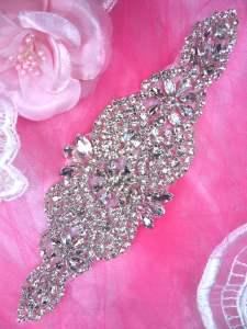 "HC2 Bridal Sash Motif Crystal Rhinestone Applique 8"""