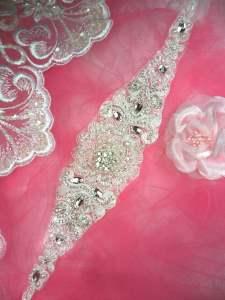 "HC20 Bridal Sash Applique Venise Lace Motif Crystal Rhinestone w/ Pearls 11.5"""