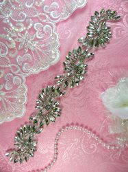 """HC24 Rhinestone Applique Silver Crystal Bridal Motif 11"""""""