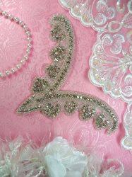 """HC27 Rhinestone Yoke Applique Silver Crystal Bridal Motif 7"""""""