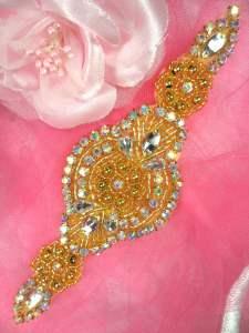 "HC3 Gold Beaded Crystal Aurora Borealis  AB Rhinestone Applique 6.25"""