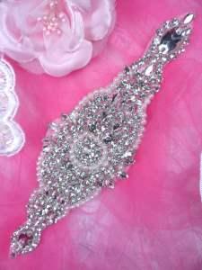 """HC5 Applique Bridal Motif Crystal Rhinestone w/ Pearls 8"""""""