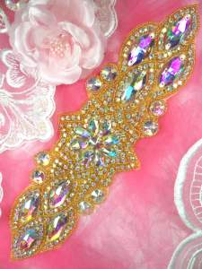 "HC8 Gold Beaded Crystal Aurora Borealis AB Rhinestone Applique 11"""