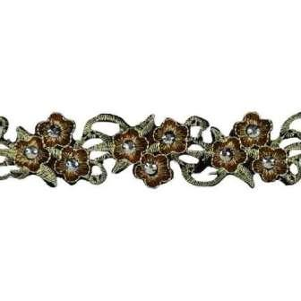 E7002 Gold Embroidered Floral Beaded Trim Iron On
