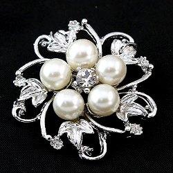 """GB207 Bridal Rhinestone Brooch Pin Silver Crystal Pearl Glass 1.5"""""""