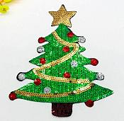 "Sequin Applique Christmas Tree Craft Patch 9"" (GB601)"