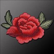 Embroidered Rose Applique Red Patch (GB585)