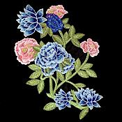 Embroidered Floral Applique Blue Pink Craft Patch (GB586)