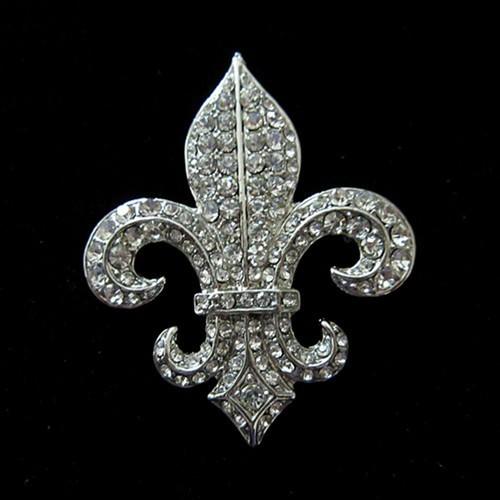 "GB247 Fleur De Lis Rhinestone Brooch Pin Vintage Silver Crystal Glass 2"""