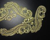 """GB250 Embroidered Appliques Gold Metallic Scroll Mirror Pair 9.5"""""""