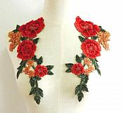 Embroidered Flower Applique Red Gold Pair Craft Patch (GB584X)