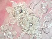 """Embroidered 3D Applique White Floral Sequin Patch Rhinestone Accented 14"""" (DH75)"""