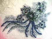 "Embroidered 3D Applique Navy Green Floral Sequin Patch Rhinestone Accented 14"" (DH75)"