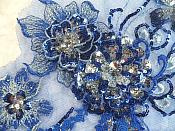 "Embroidered 3D Applique Blue Silver Floral Sequin Patch Rhinestone Accented 14"" (DH75)"
