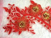 """Embroidered 3D Applique Red Gold Floral Sequin Patch 16"""" (DH74)"""