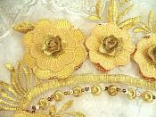 """Embroidered 3D Applique Gold Floral Sequin Patch 16"""" (DH74)"""