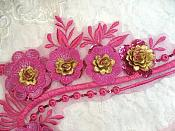 """Embroidered 3D Applique Fuchsia Gold Floral Sequin Patch 16"""" (DH74)"""