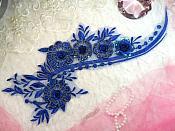 "Embroidered 3D Applique Blue Floral Sequin Patch 16"" (DH74)"