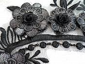 "Embroidered 3D Applique Black Silver Floral Sequin Patch 16"" (DH74)"
