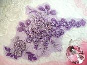 "Embroidered 3D Applique Purple Silver Floral Sequin Patch Rhinestone Accented 16"" (DH73)"