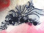 "Embroidered 3D Applique Navy Floral Sequin Patch Rhinestone Accented 20"" (DH71)"