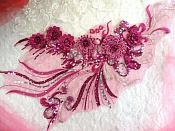 "Embroidered 3D Applique Fuchsia Silver  Floral Sequin Patch Rhinestone Accented 20"" (DH71)"