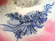 "Embroidered 3D Applique Blue Silver  Floral Sequin Patch Rhinestone Accented 20"" (DH71)"