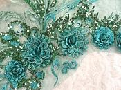 """Embroidered 3D Applique Teal Green Floral Sequin Patch Rhinestone Accented 20"""" (DH71)"""