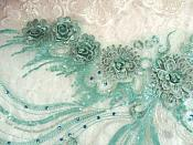 """Embroidered 3D Applique Seafoam Floral Sequin Patch Rhinestone Accented 20"""" (DH71)"""