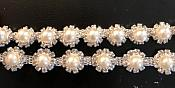 Crystal Rhinestone Trim Full Antique White Pearls Flexible Metal Backing Very Unique 1/4 inch  N104