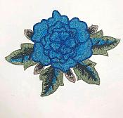 3D Embroidered Applique Blue Single Floral Sewing Supply Clothing Patch  CQ4
