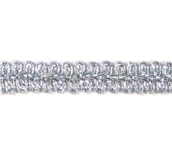 "E1901  Silver Metallic Gimp Sewing Upholstery Trim 1/2"""