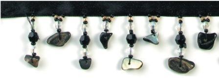 "E2659 Black Seashell Beaded Fringe Sewing Trim 1.25"""