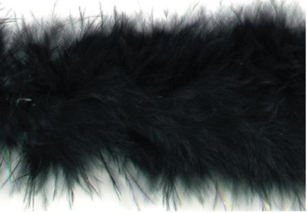 "E3760  Black Marabou Feather Fur Sewing Trim 2"""