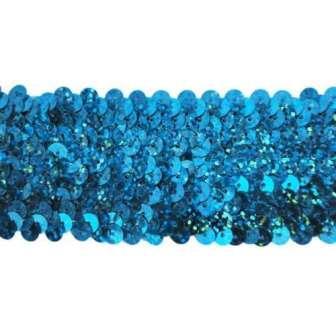 E4562 Aqua Blue Holographic Sequin Stretch Starlight Trim