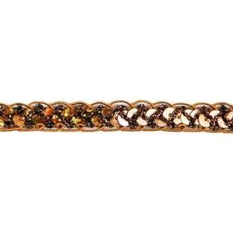 E4570  Hologram Brown Braided Cord Sequin Trim